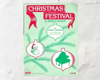 Christmas Piano Music   Christmas Festival By Schaum   1970s Classic Xmas Songs   Piano or Organ Holiday Sheet Music   70s Green & Red Decor