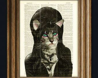 Catsandra Mistress of the Litter. Dark Princess Cat illustration beautifully upcycled dictionary page book art print