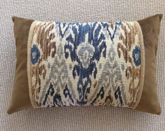 """Stunning chocolate brown velvet and and brown and blue """"carpet weight"""" ikat woven cover"""