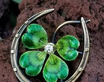 Antique Art Nouveau 14k Gold Horseshoe Clover Enamel Diamond Brooch/Antique Gold Enamel Pin/Gold Enamel Shamrock Clover / Gold Horseshoe Pin