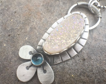 Druzy Agate London Blue Topaz Sterling Silver Necklace