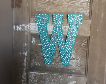 """Sparkle Turquoise Bling 13"""" Decorative Wall Letters, Girls Bedroom Decor, Wedding Decorations, Photo Prop"""