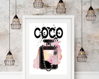 Watercolour Coco Chanel Perfume Bottle, Wall Art, Print, A3 Print, Unframed