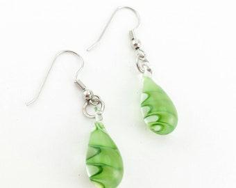 Green Glass Swirl Earrings, Glass Earrings, Green Earrings, Swirl Earrings, Glass Jewelry, Green Jewelry, Swirl Jewelry