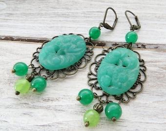 Green jade earrings, rustic earrings, chandelier earrings, bronze earrings, dangle earrings, cameo earrings, vintage style jewelry, gioielli