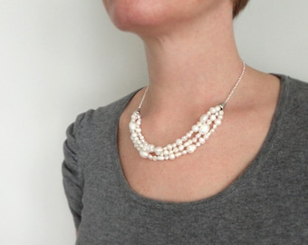 Pearl bib necklace white freshwater pearls statement necklace white bib necklace minimalist necklace for women