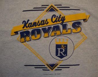Vintage 90's MLB Kansas City Royals Baseball Sportswear Fan Gray T Shirt Size XL