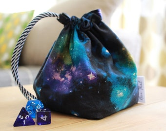 Galaxy Drawstring Dice Bag | Game Bag | DND Bag | RPG Bag - Tabletop Gamers, Roleplayers, Dungeons and Dragons, Scrabble tiles, Carcassonne
