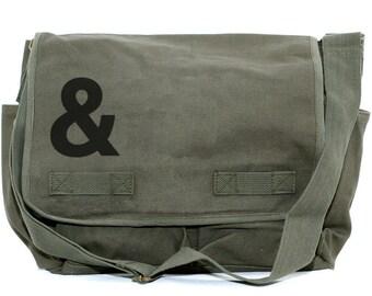 Ampersand Messenger Bag, & Laptop Bag, Crossbody Bag, Large Canvas Bag, Hip Diaper Bag, Gift for Women, Weekender Bag, Work Bag, School Bag