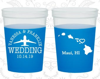Hawaii Wedding, Mood Cups, Destination Wedding, State Wedding, Blue Mood Cups (110)