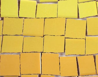 Ceramic Mosaic Tiles - Ombre Shades Of Yellow Mosaic Tile Pieces Shades Of Yellow Tiles - 40 Pieces - For Mosaic Art / Mixed Media Art