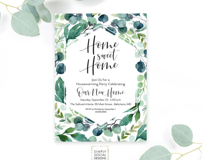 Eucalyptus Leaves Housewarming Party Invitation - Leaf Botanical Classy Black and White Calligraphy Home Sweet Home New Home Printable