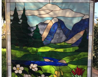 Autumn Wildflowers Leaded Stained Glass Window Panel  (We do custom work, email for a quick quote)