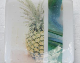 White Pineapple Fused Glass Dish/Plate