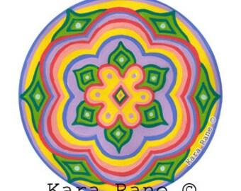 Cosmic Circle, Daisy Eye, Groovy Folk Flower, Spiritual, Wanderlust, Van life, Daisy, Light catcher, Psychedelic, EcoFriendly window cling