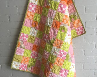 Baby Quilt, Baby Girl Quilt, Crib Quilt, Baby Girl Crib Quilt, Baby Blanket, Baby Girl Blanket, Pink Baby Girl Quilt, Green Baby Girl Quilt
