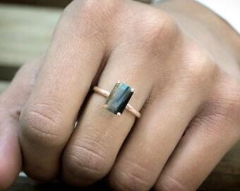 SUMMER SALE - Rose gold ring,Labradorite ring,artisan ring,engagement ring,wedding ring,proposal ring,prong set ring,rectangle ring
