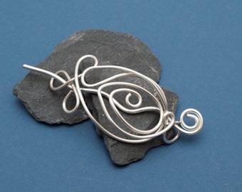 Silver wire Hair slide, Hair Barrette, Hair bun pin ,Hair jewellery ,Gift for women