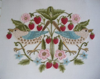 The Strawberry Thief -Crewel Embroidery kit from the Needlewoman's Studio