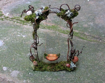 Faery Swing, Custom Order, fairy garden, dollhouse, fairy house, miniatures, natural materials, woodland, creative play, Waldorf, fairy