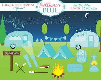Turquoise Camping Clipart and Digital Paper