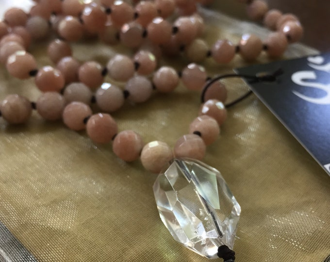 Strawberry Sunstone + Quartz Mala | 108 Bead | Handknotted | Spiritual Junkies |Yoga + Meditation