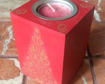 Handmade Christmas Decoupage Tealight Holder
