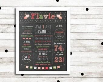 "First birthday poster custom ""Shabby chic"", digital file, party baby 1 year, slate Board, chalkboard"
