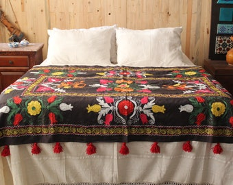 Suzani Hand Embroidered Bed Cover,Ethnic,Bohemian,Tribal Throw