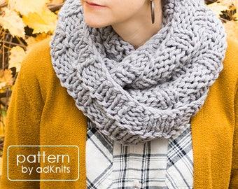 Basket Weave Infinity Scarf Knitting Pattern, Chunky Cowl PDF Pattern, Digital Download