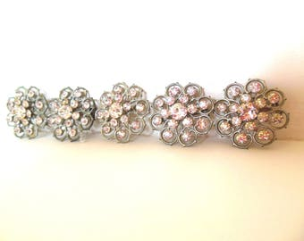 Vintage Wedding Set 5 Pot Metal Rhinestone Brooches Silver 40's Individually Boxed (item 208)