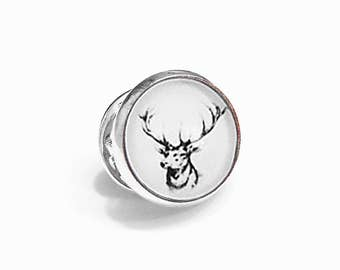 Deer Stag Buck Pin Brooch Tie Tack Woodland Black and White Antlers