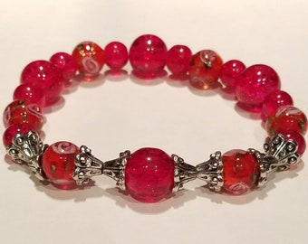 Red Lampwork, Glass Beaded Bracelet.