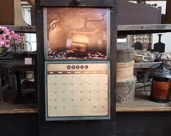 "Hand Crafted Wooden Calendar Holder | Primitive | Rustic | Farmhouse Style Calendar Holder | 16"" Wide x 33"" Tall"