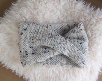 Beige/Tweed Inspired Hand Knit Turban Headband - READY TO SHIP