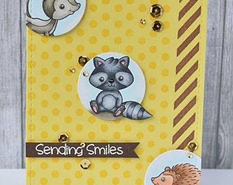 Handmade Greetings card, Critter friends!, Friendship card