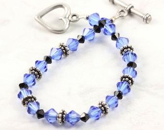 Crystal Bracelet Blue Wedding Jewelry Black Prom Jewelry Jet Black Bracelet Dark Blue Bridesmaid Bracelet Sapphire Bracelet