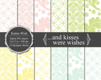 Kisses Were Wishes Digital Paper Kit  12x12 inch jpg Instant Download files