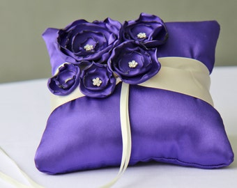 Wedding Purple And Ivory Satin Ring Bearer Pillow More Colors Available
