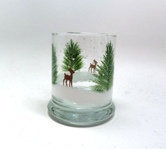 Hand Painted Reindeer in the snow candle holder