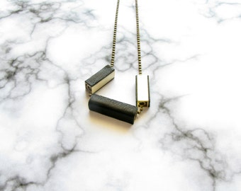Geometric Cube-Tube Necklace-Brass Tube Necklace-Leather Jewellery-Bar-Square Tube Necklace-Modern Leather Necklace-Leather Necklace
