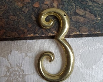 """Vintage Brass Number 3 Curvy Home Address  3"""" Tall, Salvage Metal Hardware Gallery Wall Art, Altered Art Supplies"""