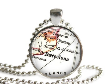 Personalized Jewelry, Barcelona necklace pendant charm: Spain map jewelry charms, photo pendant, custom spanish locations available, A202