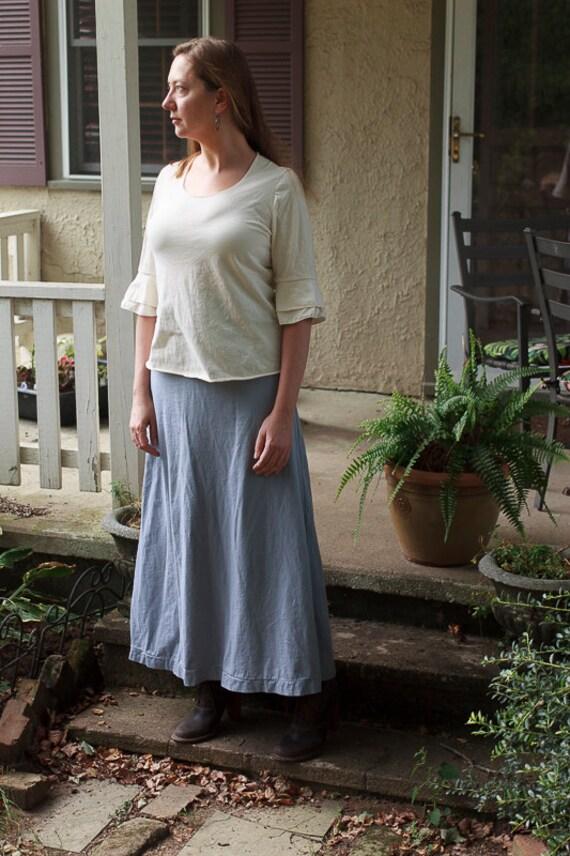 Lovely Day Skirt, Long Organic Cotton Jersey Maxi Skirt, Fair Trade Fabric Handmade Skirt