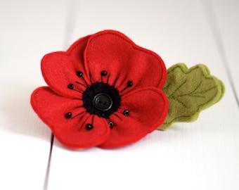 Handmade Felt Poppy Brooch - Poppy Brooch - Remembrance Day - Red Poppy - Birthday Gift - Brooch - Flower Brooch - Handmade Poppy  Brooch