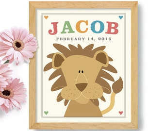 Art for Childrens Room Lion Art Nursery Decor Newborn Baby Art Kids Decor Art Personalized New Mother Gift Cute Art for Babies Room