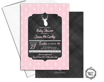 chalkboard baby shower invitation for girl | deer baby shower invites arrows | printable or printed | unique pink baby shower - WLP00865