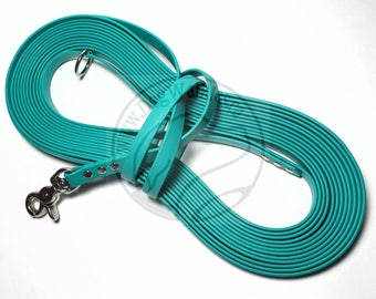 "Teal -   Waterproof Long Line - 1/2"" (12mm) wide Genuine Biothane - Tacking Line Recall Leash - Choice of hardware and length"