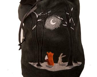 Black grey leather bag moonlit night embroidery winter fashion drawstring bucket bag duffle duffel gym purse boho shoulder fox bunny fantasy