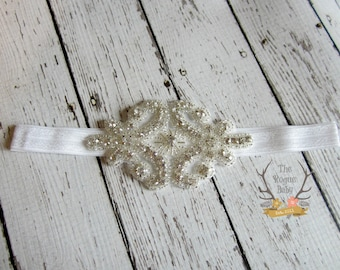 Rhinestone Headband - Flower Girl Headband - Bridal Headband - Gatsby - Crystal - Headband - Pageant - Bling - Rhinestone Applique Wedding